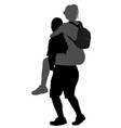 Love couple boy carrying girl on back silhouette