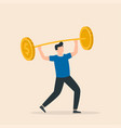 man trying to lift barbell made huge coins vector image vector image