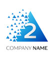 number two logo in the colorful triangle vector image vector image