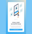 online shopping isometric mobile app page vector image