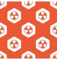 Orange hexagon hazard pattern vector image vector image