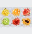 orange kiwi fruit banana tomato watermelon papaya vector image vector image