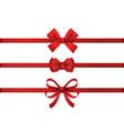 red realistic bow horizontal ribbon vector image