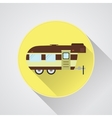 RV camping icon logo and badge Caravan button in vector image vector image