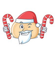santa with candy chickpeas mascot cartoon style vector image vector image