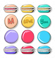 Set realistic sketch macaroon Sweets handmade for vector image
