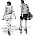sketch couple young people walking barefoot vector image