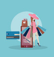 the girl is shopping online vector image vector image