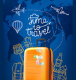 time to travel concept with red orange handbag vector image vector image
