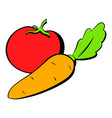 tomato and carrot icon cartoon vector image vector image