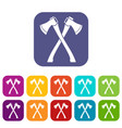 two crossed axes icons set vector image vector image