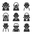 vampire icons set on white background vector image vector image