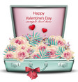 vintage briefcase full with flowers vector image