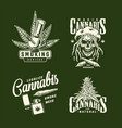 vintage cannabis prints set vector image
