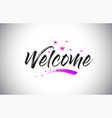 welcome handwritten word font with vibrant violet vector image