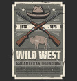 wild west american legend sheriff hat and rifles vector image vector image