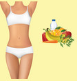 woman body with healthy food vector image vector image