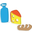 yogurt cheese and a loaf vector image vector image