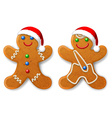 A set of Christmas gingerbread man in a Santa hat vector image