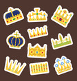 crown king vintage premium white badge heraldic vector image