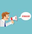 an evil boss fires an employee vector image vector image