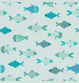 aqua abstract fish catoon seamless pattern vector image