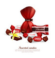 assorted candies realistic composition vector image vector image