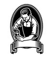 badge design of barista making the latte art vector image vector image