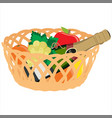basket with fruits and champagne bottle vector image vector image
