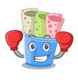 boxing rolled ice creams in cartoon cups vector image vector image