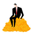 businessman bunch of bitcoins lot of crypto vector image