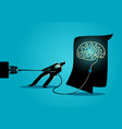 businessman trying to unplug the brain vector image vector image