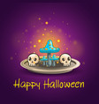 card with halloween skull and mushrooms vector image vector image