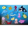 Cartoon funny sea animals characters vector image