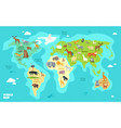 cartoon world map with animals oceans and vector image vector image