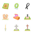 cemetery icons set cartoon style vector image vector image
