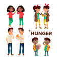 character girl and boy feeling hunger set vector image