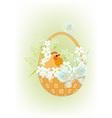 Chicken in a basket2 vector image