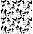 crows in crowns black and white seamless pattern vector image vector image