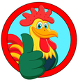 cute rooster cartoon thumb up vector image vector image
