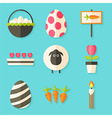 Easter icons set with shadows over blue vector image