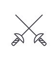 fencing swords flat line concept vector image vector image