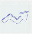 financial up arrow rising trend graph on lined vector image