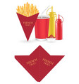 french fries packaging box die-cut cone shape vector image