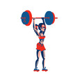 girl bodybuilder lifts a barbell with a big weight vector image