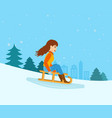 girl rolled down from mountain slope on a sled vector image vector image