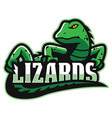 green lizard mascot vector image vector image