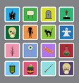 halloween color square sticker icon set vector image