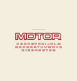 hollow sans serif font in racing style vector image vector image