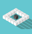 isometric lonely cube concept vector image vector image